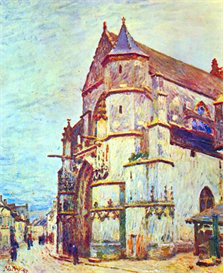 Image Photo Church of Moret, After the Rain Sisley Impressionism | Photos and Images | Vintage