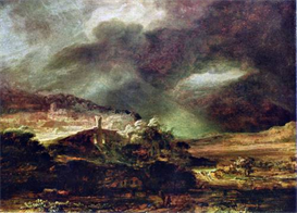 Image Photo City on a hill in stormy weather Rembrandt | Photos and Images | Vintage