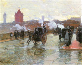 Image Photo Clearing Sunset (Berkeley Street and Columbus Avenue) Hassam Impressionism American | Photos and Images | Vintage