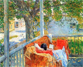 Image Photo Couch and Veranda at Cos Cob Hassam Impressionism American | Photos and Images | Vintage