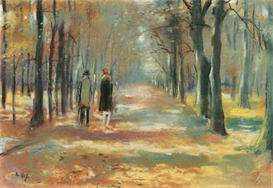 Image Photo Couple walking in the woods Lesser Ury Impressionism European | Photos and Images | Vintage