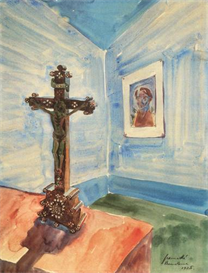 Image Photo Crucifix in the room Walter Gramatte Expressionism | Photos and Images | Vintage