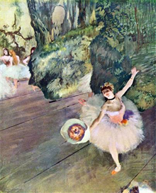 Image Photo Dancer with a bouquet of flowers (The star of the ballet) Degas Impressionism | Photos and Images | Vintage