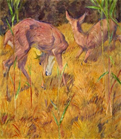 Image Photo Deer in the reed Marc Impressionism | Photos and Images | Vintage