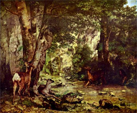 Image Photo Deer in the Woods Courbet Impressionism | Photos and Images | Vintage