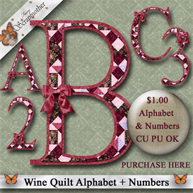 Wine Quilt PNG Alphabet & Numbers | Crafting | Paper Crafting | Other