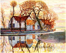 Digital full color fine art image of Landscape with Farmhouse by Piet Mondrian - high res JPEG for worldwide download | Photos and Images | Fine Art