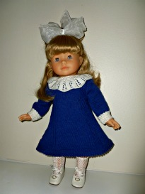 Doll Knitting Pattern - D001 - Daisy - Blue & White Dress | Crafting | Sewing | Other