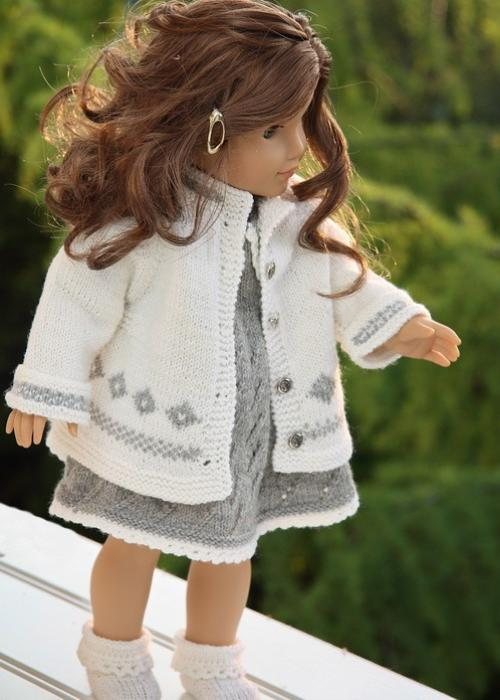 Third Additional product image for - DollKnittingPatterns - 0076D KATJA - Dress, Pant, Outdoor Jacket, Socks and Hat (English)