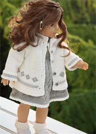dollknittingpatterns - 0076d katja - dress, pant, outdoor jacket, socks and hat (english)