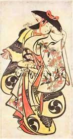 Digital image of 18th century Japanese woodcut Woman Dancer by Torii Kiyonobu I - 300 dpi jpeg | Photos and Images | Fine Art