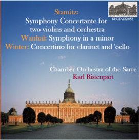 stamitz: symphony concertante for two violins and orchestra; wanhal: symphony in a minor; winter concertino for clarinet and 'cello - chamber orchestra of the sarre/karl ristenpart