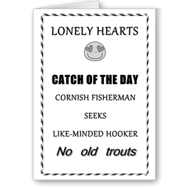 lonely hearts catch of the day greetings card 6x4 7x5 templates