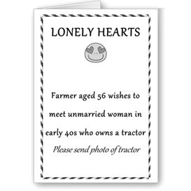 lonely hearts farmer greetings card 6x4 7x5