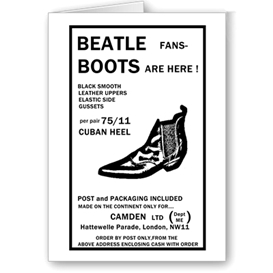 beatles boots advert (no1) greetings card 6x4 7x5 templates