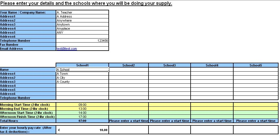 Teacher Resource Supply Teacher TimeSheet And Invoice Generator | Software  | Software Templates  Invoice Generator Software