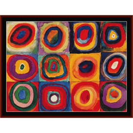 concentric circles, kandinsky cross stitch pattern by cross stitch collectibles