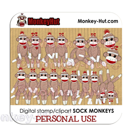 Sock Monkey clip art party set v4 PERSONAL USE | Photos and Images | Animals