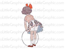 vintage image: little girl with hula hoop -large- png