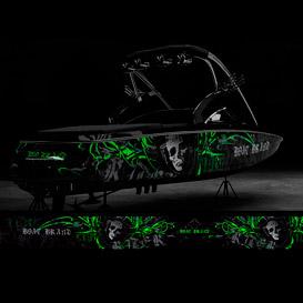 biker boat graphic