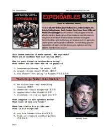 EXPENDABLES, Whole-Movie English (ESL) Lesson (with Simplified Chinese) | eBooks | Education