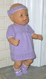doll knitting pattern - a001 - mauve springtime outfit