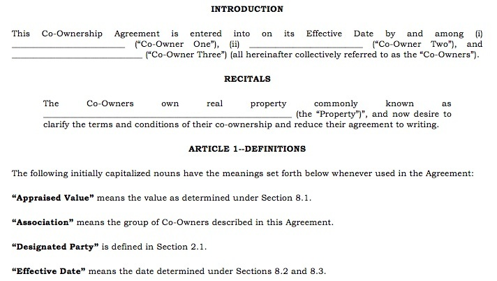 Sample Property CoOwnership Agreement For Two Parties Investing – Investors Agreement Template