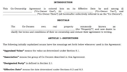 First Additional product image for - Sample Property Co-Ownership Agreement For Three or More Parties Investing Together