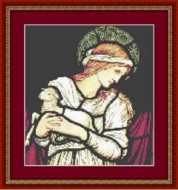 angel with lamb cross stitch