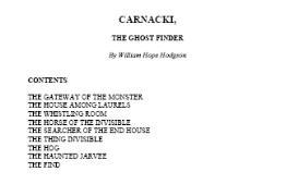 Carnacki, Ghost Finder | eBooks | Horror