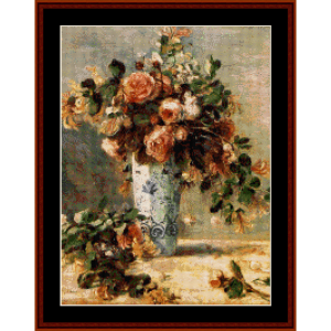 Roses and Jasmine - Renoir cross stitch pattern by Cross Stitch Collectibles | Crafting | Cross-Stitch | Wall Hangings