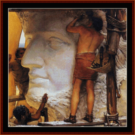sculptors in ancient rome - alma tadema cross stitch pattern by cross stitch collectibles