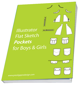 225 illustrator flat sketch pockets for boys & girls garment