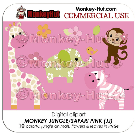 monkey jungle jill animals pink clip art v2 (jj) commercial use