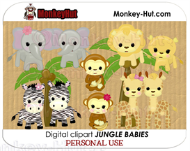 Adorable baby safari/jungle animals clip art | Photos and Images | Clip Art