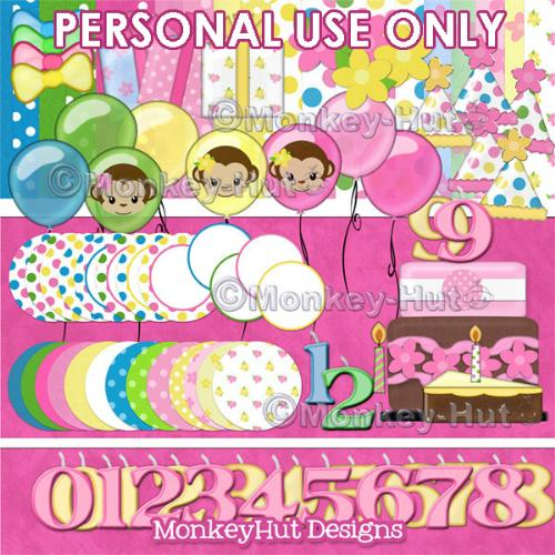 First Additional product image for - Monkey Girl Birthday Party Clip Art set pink yellow green blue v3 (PERSONAL USE)