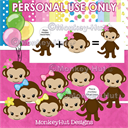 Monkey Girl Birthday Party Clip Art set pink yellow green blue v3 (PERSONAL USE) | Photos and Images | Clip Art