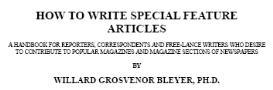 How To Write Special Feature Articles | eBooks | Reference
