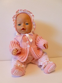 doll knitting pattern - a003 - pink stripes