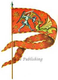 Digital high resolution image of Angel Knight fighting Dragon flag | Photos and Images | Fine Art