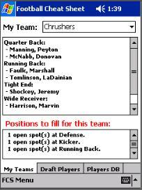 fantasy football cheat sheet for pocket pc