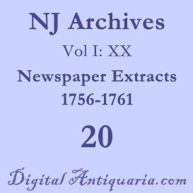 nj archives (i:xx) newspaper extracts 1756-1761 (1898)