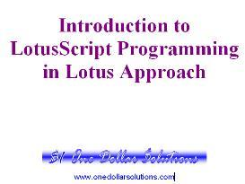 EDITABLE LotusScript Programming for Lotus Approach 9.5 | eBooks | Computers
