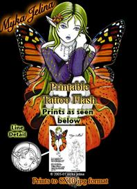 Tiger Lilith Myka Jelina Printable Fairy Tattoo Flash | Other Files | Patterns and Templates