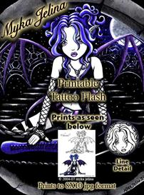 Chained Blue Myka Jelina Printable Fairy Tattoo Flash | Other Files | Patterns and Templates
