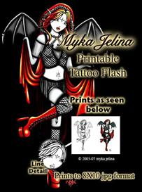 Fire Fae Myka Jelina Printable Faery Tattoo Flash | Other Files | Patterns and Templates