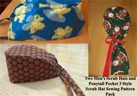 Three Style Scrub Hat Sewing Pattern Pack | Crafting | Sewing | Other