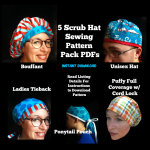 Five Pack Scrub Hat Sewing Pattern Set | Crafting | Sewing | Apparel
