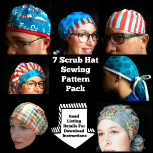 seven scrub hat sewing pattern pack set