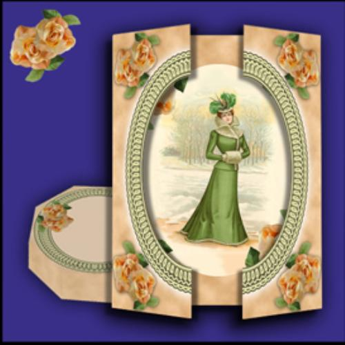 First Additional product image for - Victorian Elegance Gatefold Card and Gift Box set in Green